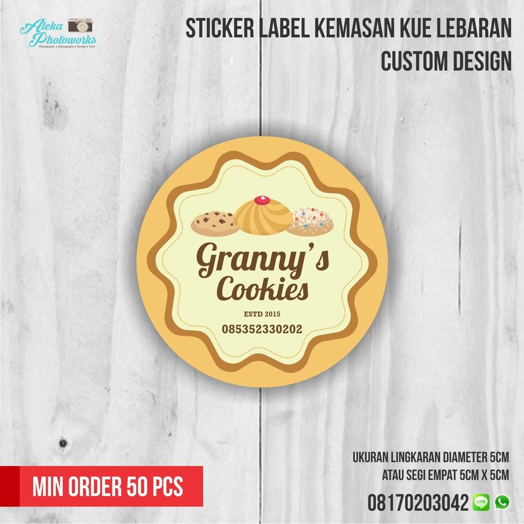 Sticker label kemasan kue lebaran shopee indonesia