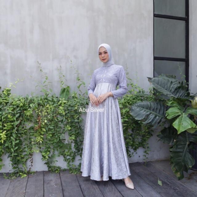 Dress Brokat Kombinasi Jaguard Glitter Shopee Indonesia