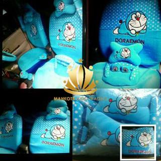Car Set / Sarung Jok Doraemon Mobil 24 in 1 Bantal Mobil 24in1 Doraemon - Biru (3 Baris)