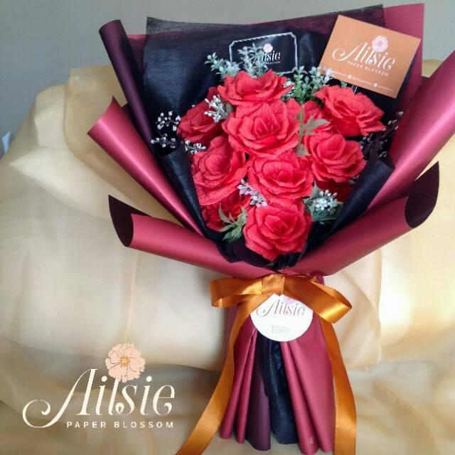 Rose Bouquet Buket Bunga Mawar Buket Wisuda Hadiah Pacar Ultah Bunga Kertas Artifisial Shopee Indonesia