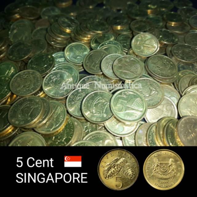 COIN SINGAPORE 5 CENT VARIASI TAHUN ACAK KUNING KOIN SINGAPURA 1 KEPING