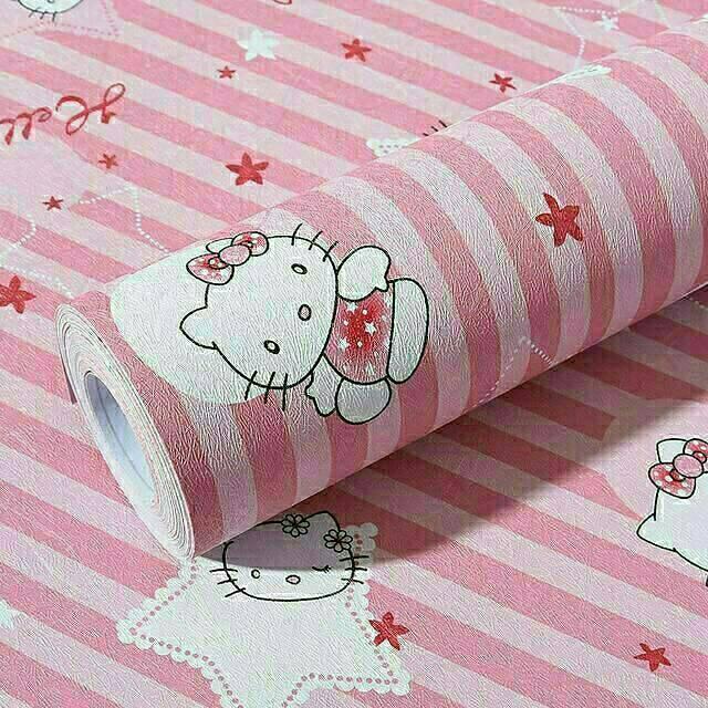 Grosir Wallpaper Sticker Dinding Termurah Kamar Anak Kartun Hello Kitty Garis Pinx Putih Terlaris