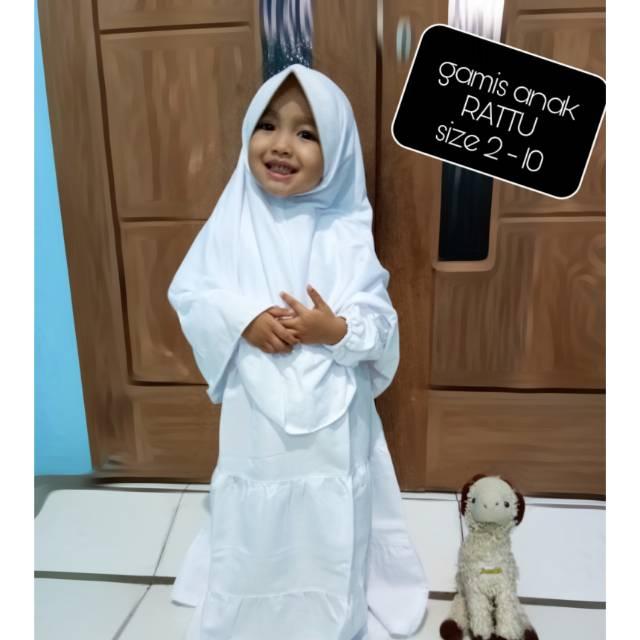 Baju Muslim Anak Gamis Seragam Manasik Haji Anak Perempuan Putih