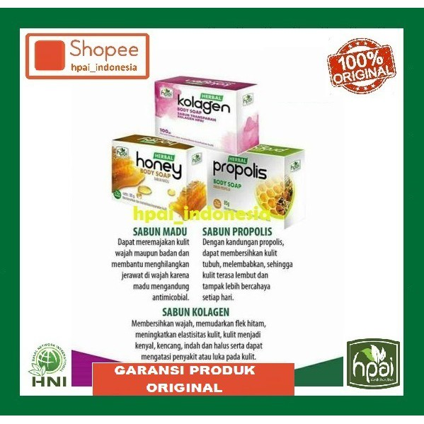 Sabun HPAI HNI Kolagen HPAI Propolis HPAI Madu HPAI Batang Perawatan Kulit Wajah Tubuh Herbal Mandi   Shopee Indonesia