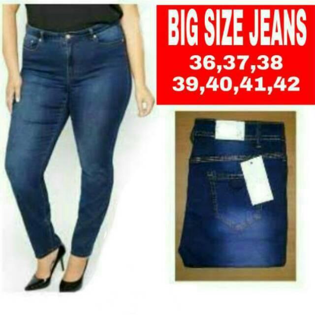 SUPER JUMBO JEANS!! Jeans Wanita Jumbo Big Size Ukuran 35 36 37 38 39 40 41  42  9f9cdfc14f