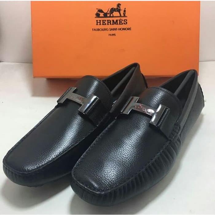 Sepatu Hermes Loafers Men Type Black Mirror Quality W97 premium harga  grosir  8955532882