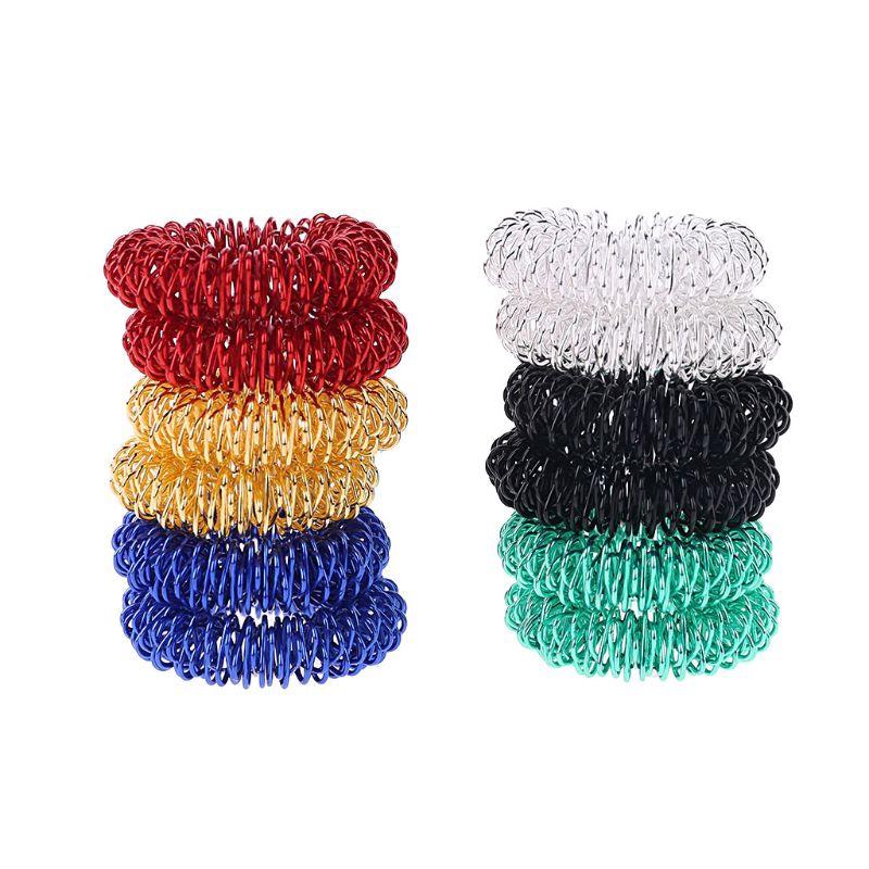 12 X Spiky Sensory Finger Acupressure Ring Fidget Toy Kids Adults Stress Relief