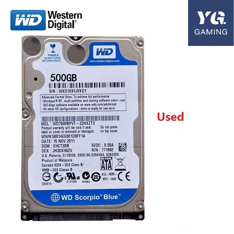 Used Hard Drive 2.5 Sata 500GB