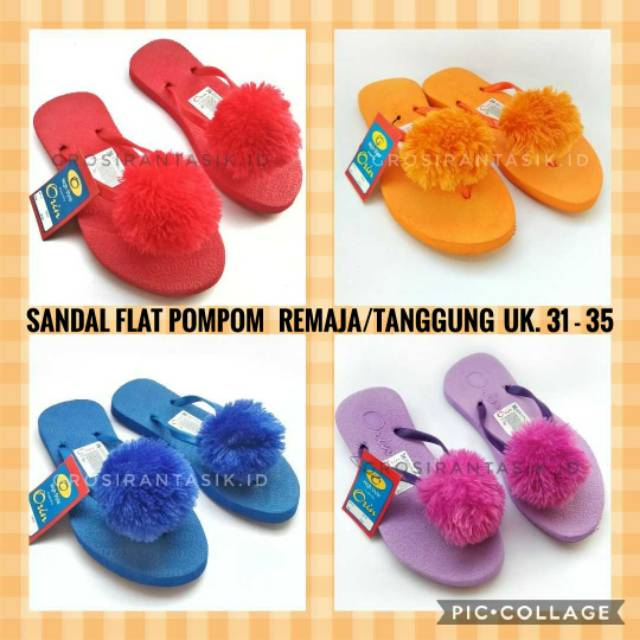 Sandal teplek flat spon sakila POM POM merah, hitam, ungu, pink | Shopee Indonesia
