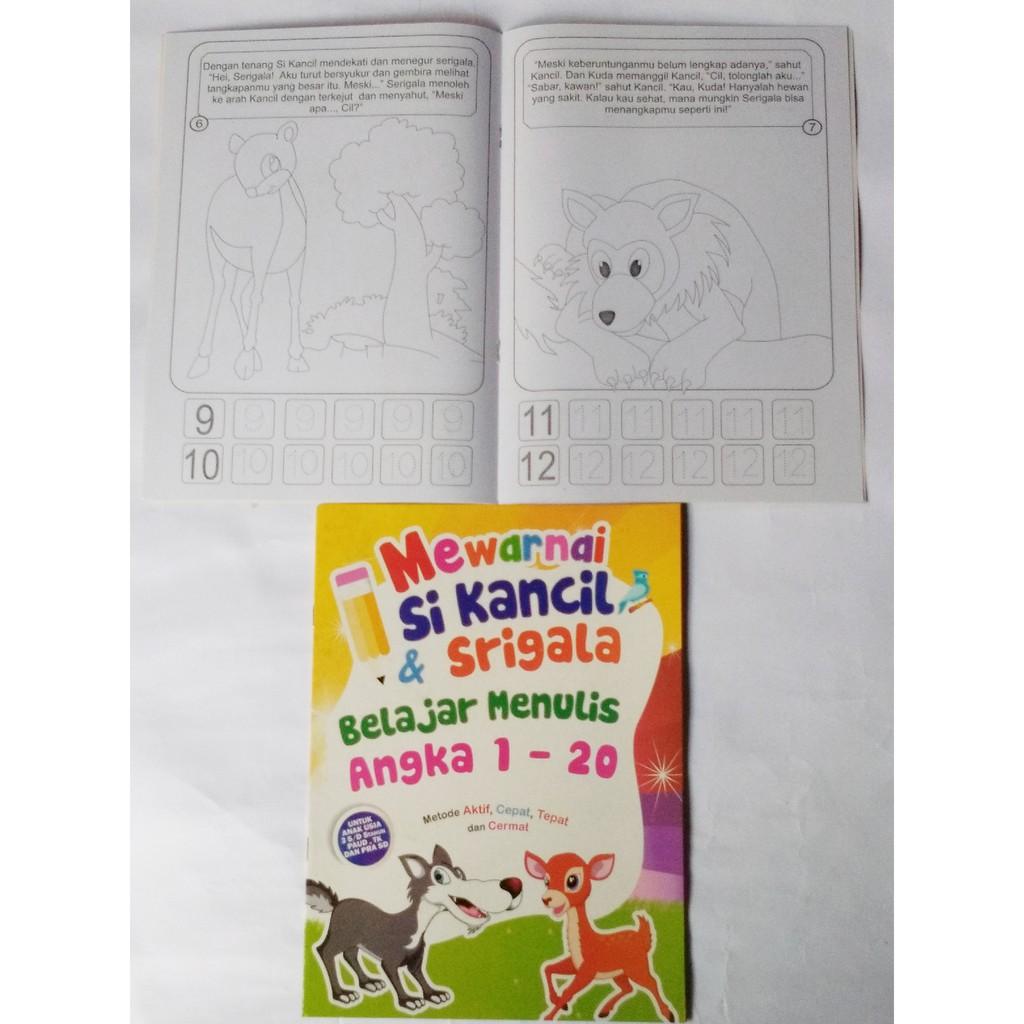 Buku Mewarnai Anak Dan Belajar Berhitung Karakter Gambar Si Kancil Dan Srigala