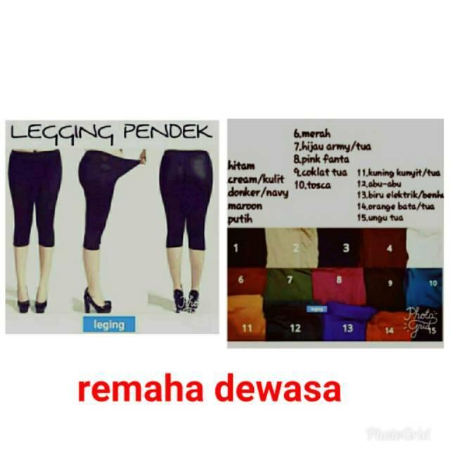 Celana Leging Pendek Wanita Remaja Legging Leging Pendek Celana Leging Fit To L Fit To Xl Dc Shopee Indonesia
