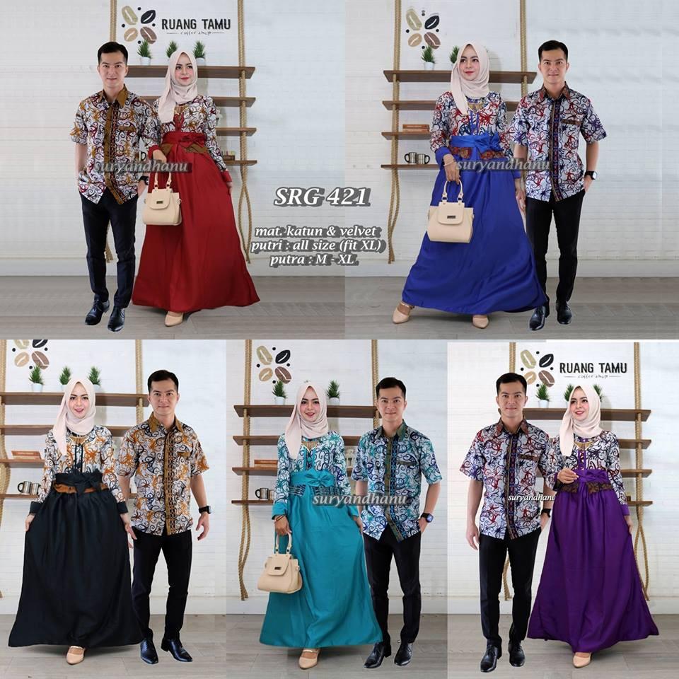Srg 421 Baju Pesta Couple Batik Sarimbit Gamis Keluarga Muslimah