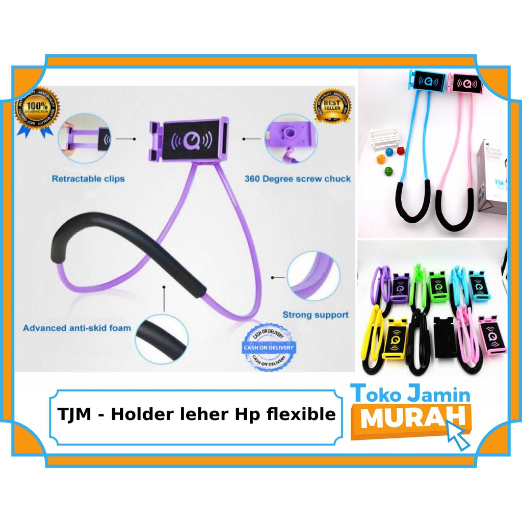 Holder leher Hp flexible / Lazypod Leher / Lazy hanging neck cell phone stand mount necklace