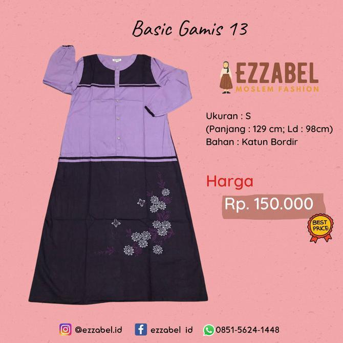 Terbaru Ezzabel - Basic Gamis 04 - Baju Harian Santri Gontor Putri - S