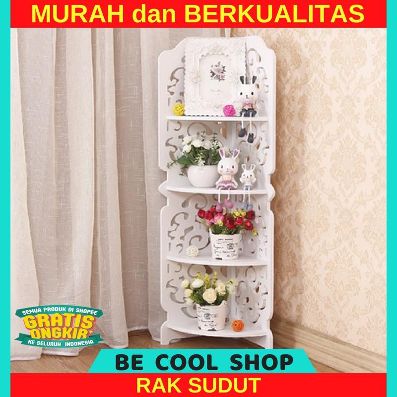 Stand Corner Rak Sudut Susun Tingkat 4 Shabby Chic Vintage Putih Kayu Minimalis Dekorasi Dinding