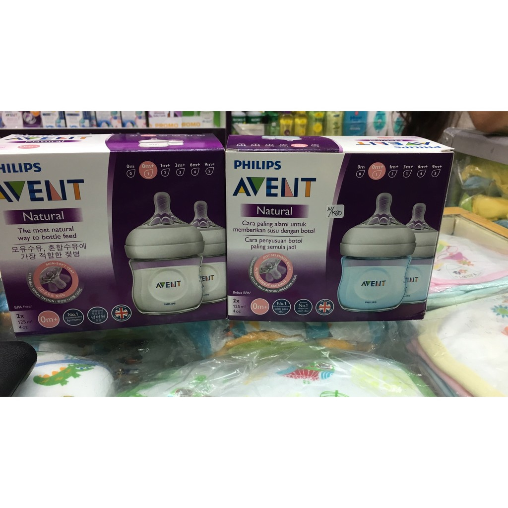 Botol Minum Philips Avent Natural Flow Bpa Free Size Pack 1x 125ml Isi 2 Shopee Indonesia