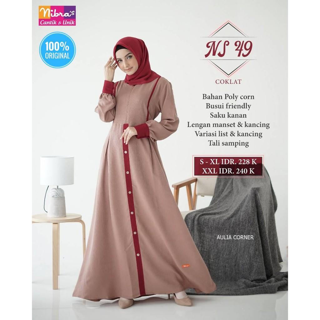 Baju Gamis Rabbani Terbaru Gamis Terbaru Nibras NS 10 Coklat ORIGINAL  Desain Elegan