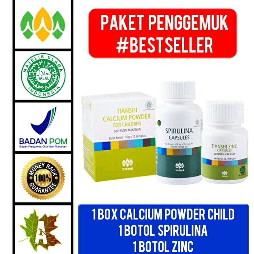Paket Silver Penggemuk Badan Tiens Zinc Spirulina Berat 1 Herbal Shopee Indonesia