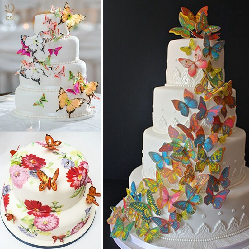 Cod 20pcs Paper Edible Mixed Butterfly Wafer Rice Paper Cake Cupcake Toppers Shopee Indonesia