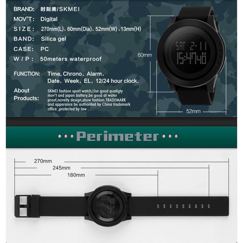 Ft. SKMEI 1142 Jam Tangan Pria Original Men's Sport Digital LED Water Resistant Wrist Watch