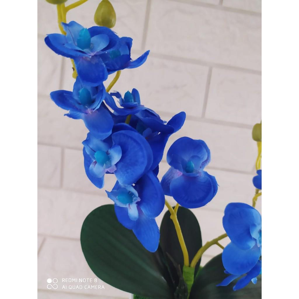 Bunga Anggrek Plastik Palsu Biru Shopee Indonesia