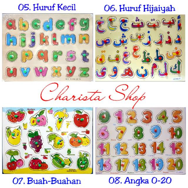 ... Mainan Edukasi Anak - Puzzle Kayu Knop Huruf Arab Hijaiyah Gambar. Source · Puzzle Kayu / Puzzle Knob Kayu Angka / Abjad / Transportasi / Buah / Hewan /