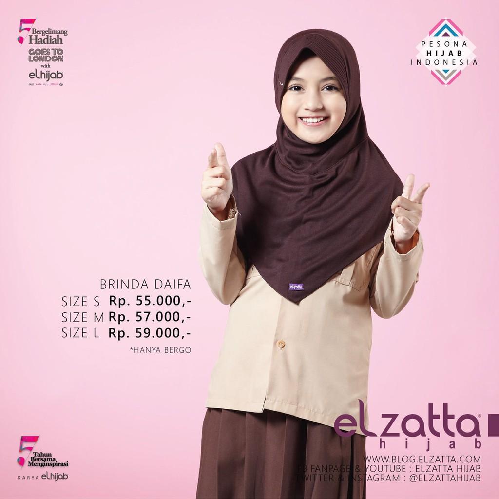 Hijab Elzatta Brinda S Daifa Coklat Tua Hijab Bergo Hijan Anak Sekolah Shopee Indonesia