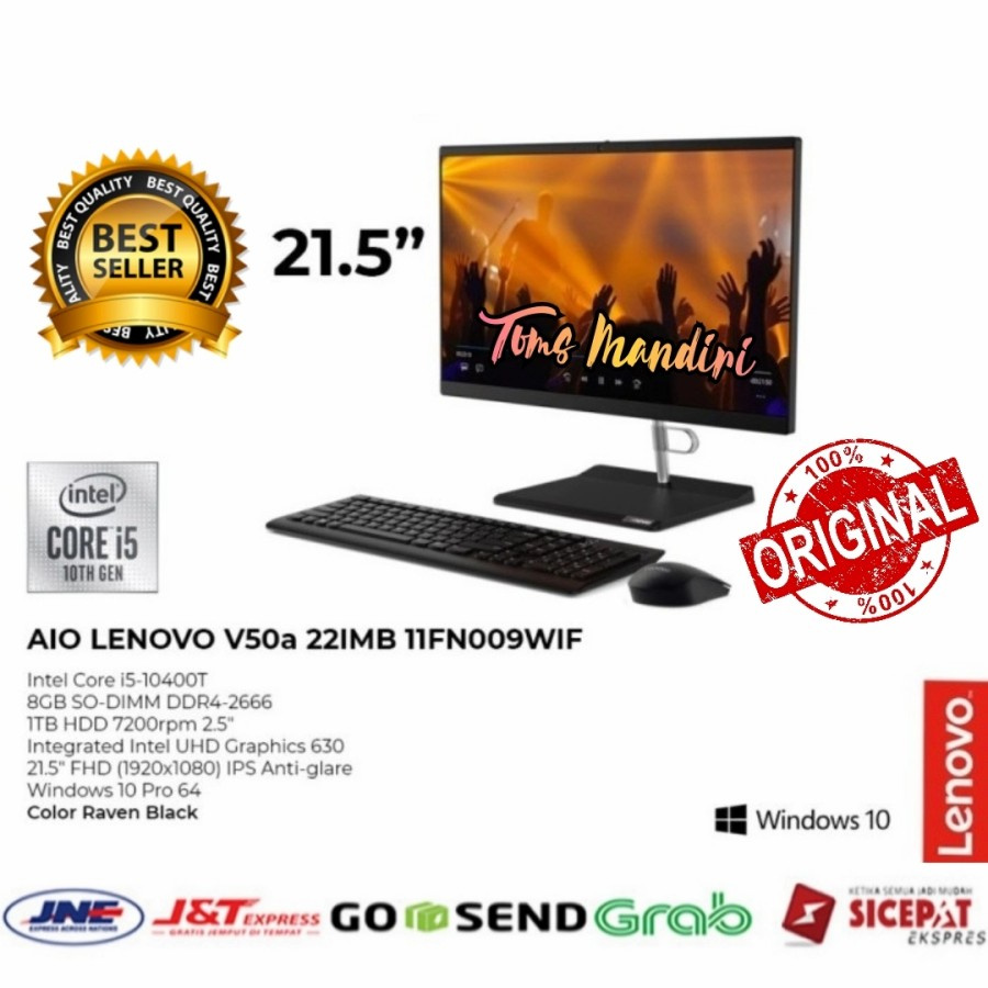 "Lenovo PC AIO V50a-11FN009WIF Ci5-10400T/8GB/1TB/DVD/W10 Pro/21.5"""