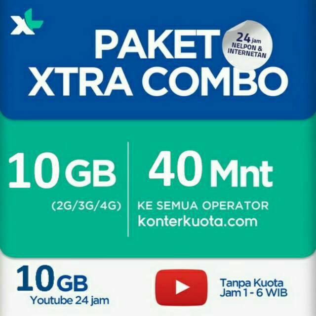 10 Gb 10gb Youtube 20gb Paket Internet Xl Combo Xtra Combo