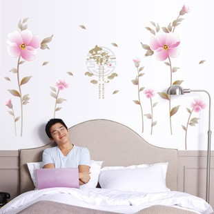 STIKER DINDING MURAH WALLSTICKER/WALL STIKER 60X90-SK9026-ROMANTIC PINK FLOWER | Shopee Indonesia