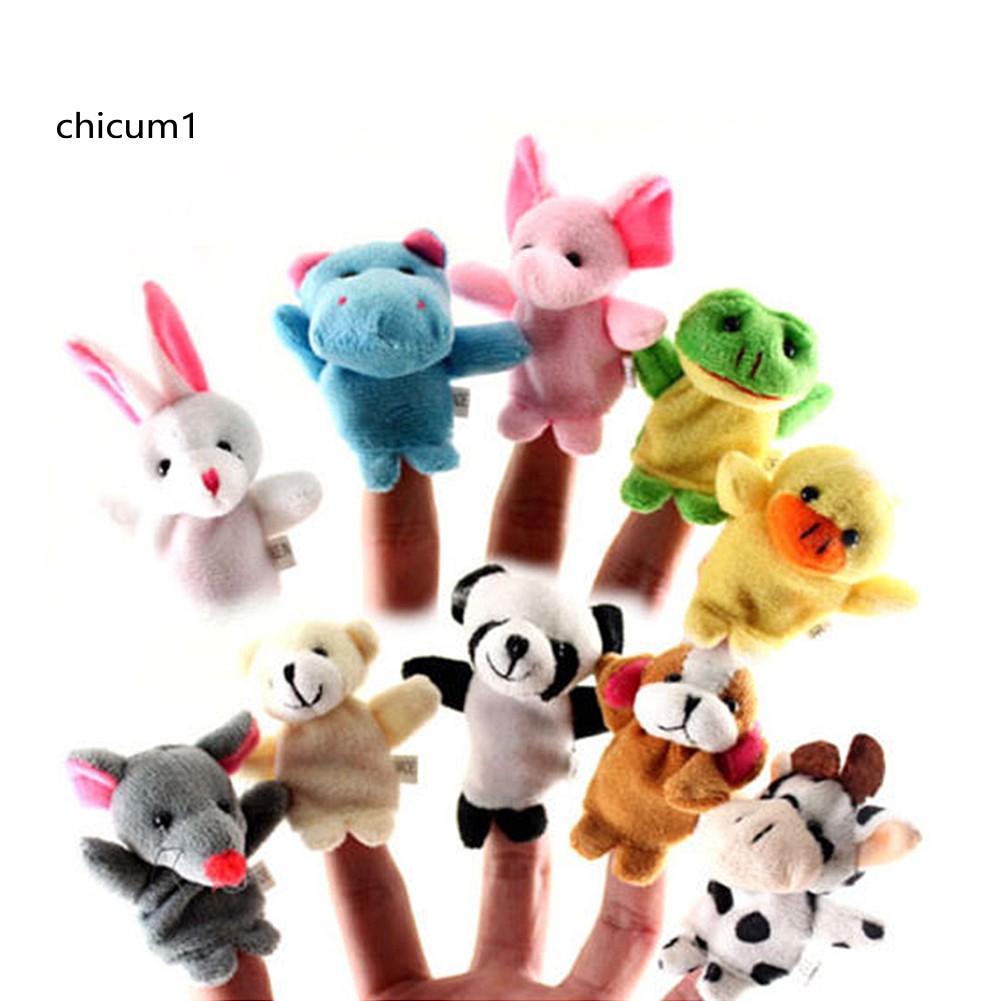 2//10Pcs Finger Puppet Cloth Plush Doll Educational Hand Cartoon Animal Baby Toy