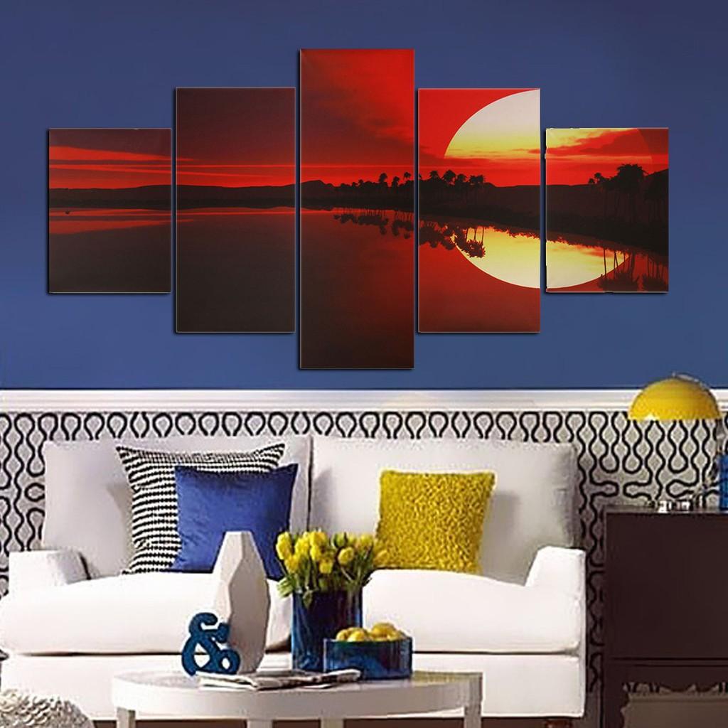 5pcs Lukisan Kanvas Dinding Warna Merah Senja Shopee Indonesia