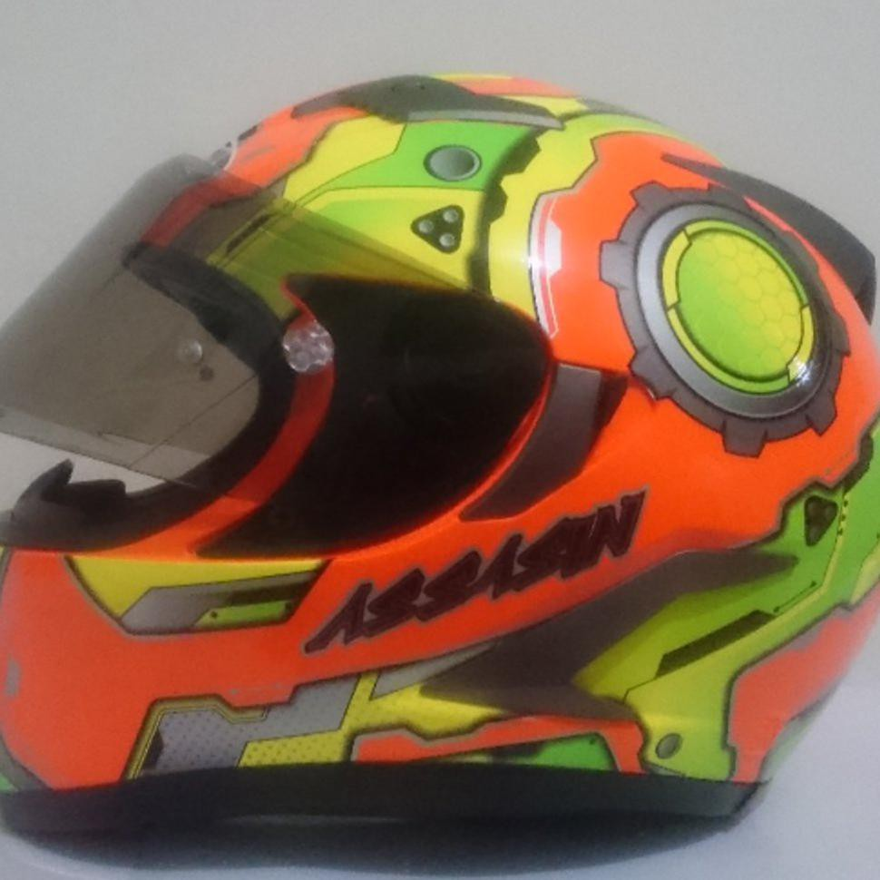 Helm Njs Shadow 807 Orange Fluo Double Visor Fullface Shopee Indonesia Kaca Flat Smoke