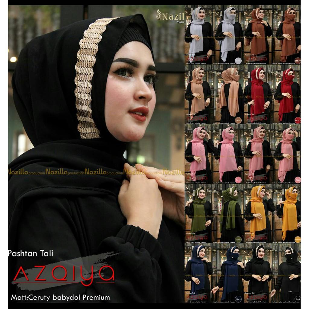 Hijab Pasmina  AZQIYA Free Masker Terbaru 2021 - Krudung Instant Payet Renda ORY Nazilla Teraris