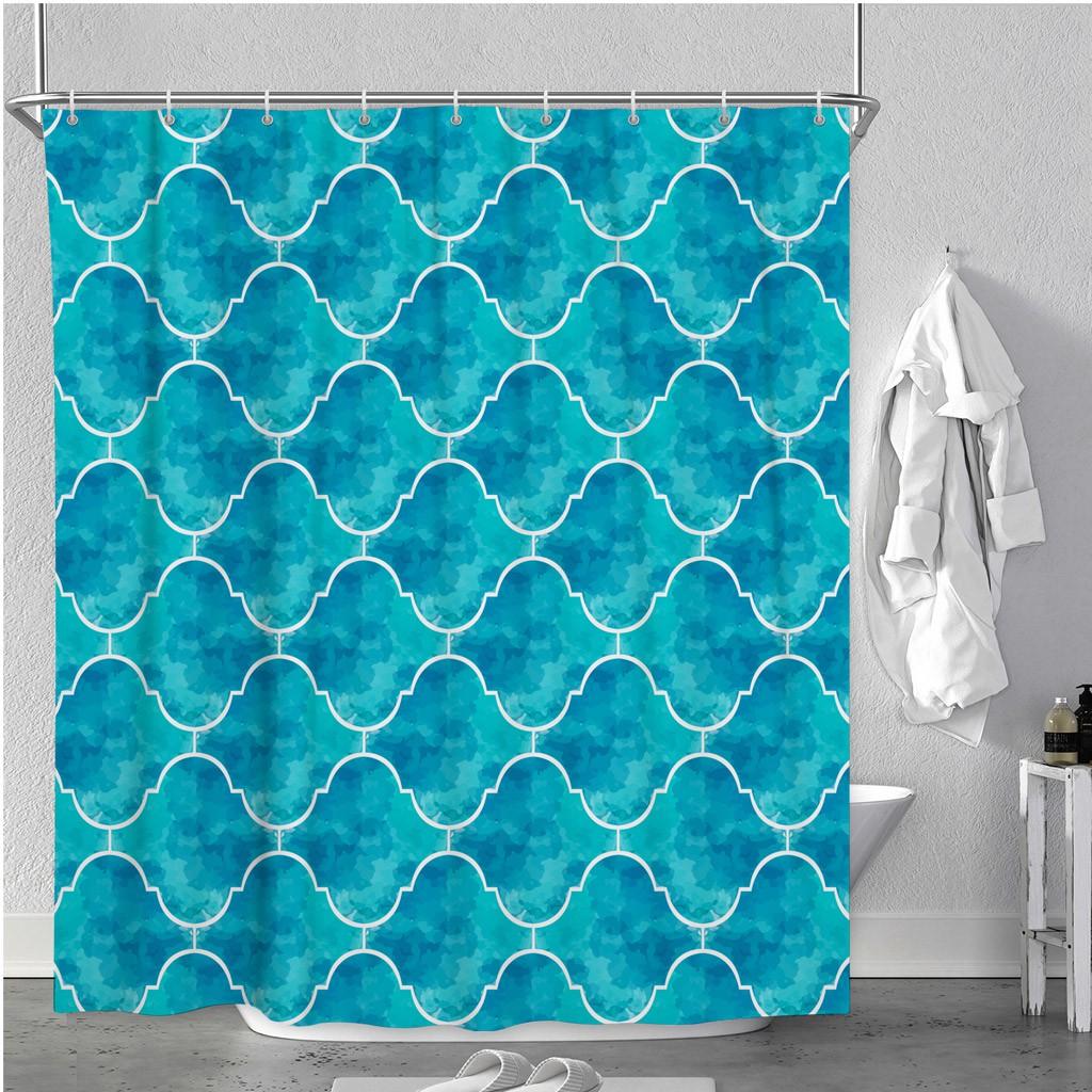Morocco Traditional Arabic Waterproof Bathroom Fabric Bath Shower Curtain Hooks