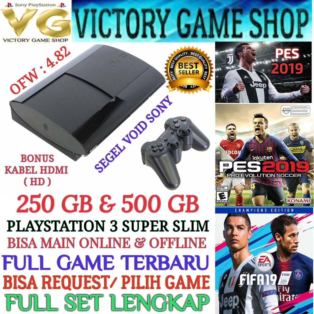 Sony Playstation 3 Ps3 Ps Fat Hdd 500 Gb Full Game Loop Super Slim 500gb Ofw Lengkap Shopee Indonesia