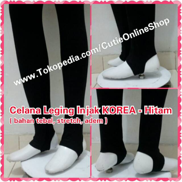Celana Leging Injak Korea Hitam Legging Import Tebal Hijab Panjang Black Shopee Indonesia