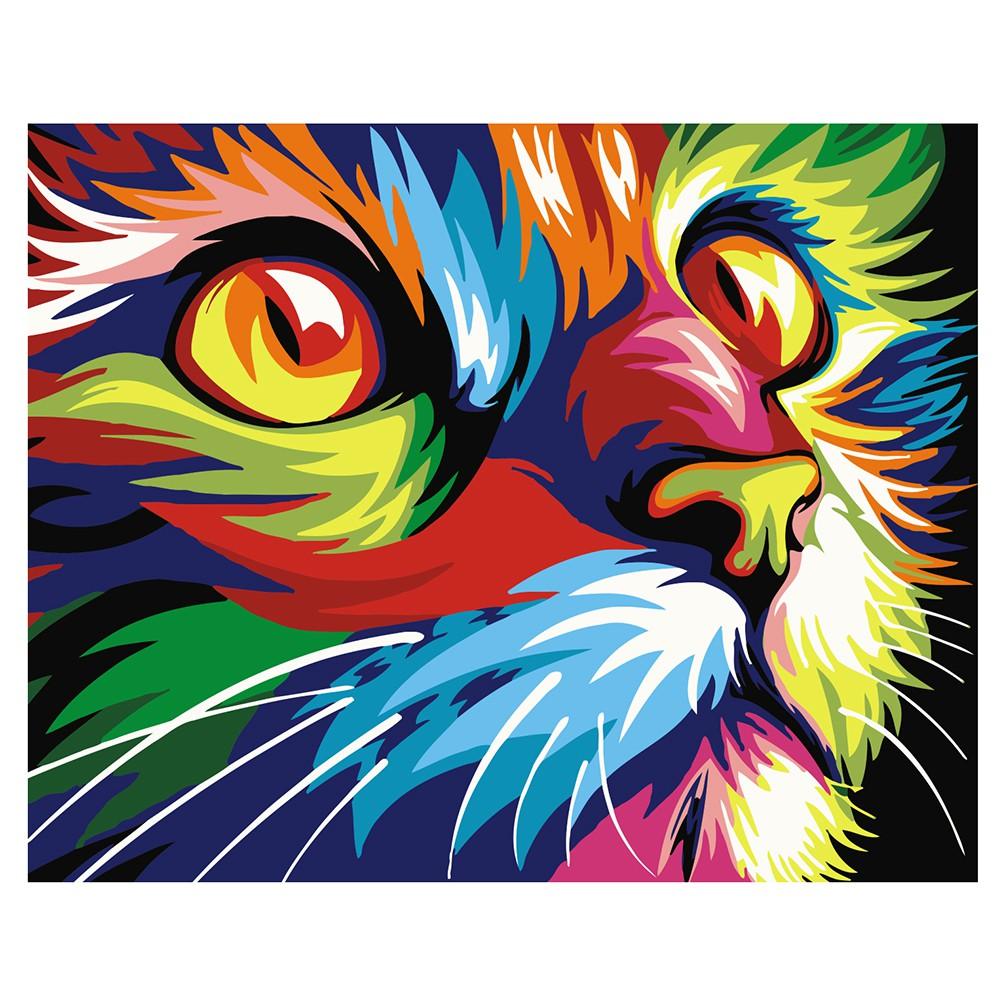 DIY Lukisan Diamond 5D Dengan Gambar Kartun Kucing Dan Hiasan Berlian Buatan