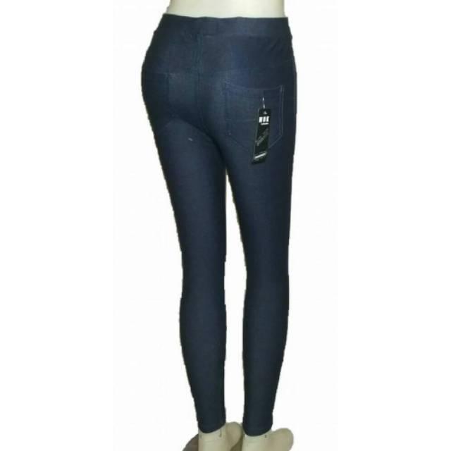 Celana Legging Jeans Kantong Bahan Tebal Adem Lembut Pinggang Karet Shopee Indonesia