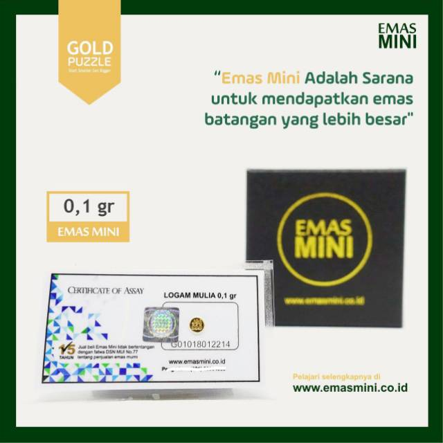 Logam Mulia Emas Mini Murni 24 Karat 0 1 Gram 0 1gr 100mg Logam Mulia Bersertifikat Shopee Indonesia