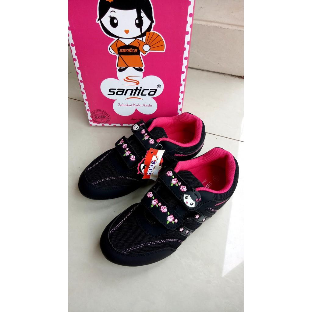 Sepatu Sekolah Santica Miyori Anak Perempuan Hitam Pink Original By Michiko Kets Tk Paud Sd Shopee Indonesia