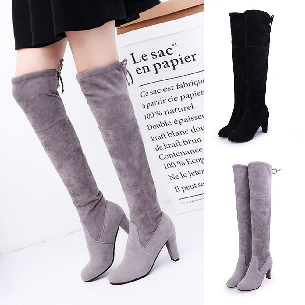 Fashion Wanita: Sepatu High Heels Boots Sepaha Bertali Bahan Suede