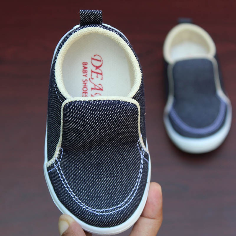 Sepatu Anak Laki Laki Umur 1 2 Tahun Unik Bahan Denim Diskon Slip