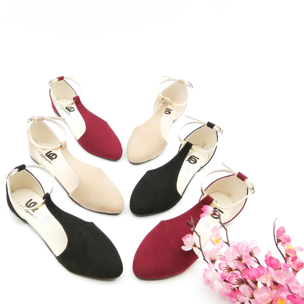 ESTORE Flatshoes Arlaine Ankle Wanita Formal / Flat Shoes Cewek FS17 Hitam Maroon Coklat Mocca | Shopee Indonesia