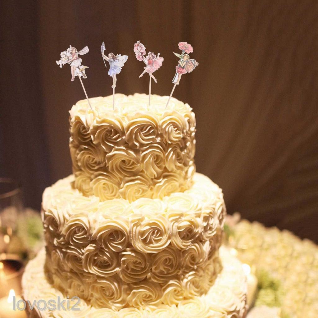 24pcs Flower Fairy Cupcake Toppers Birthday Cakes Topper Picks For Kids Birthday