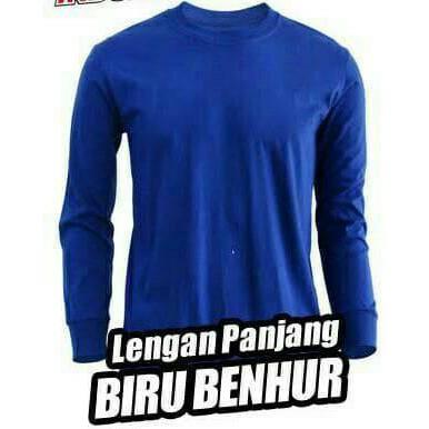 Kaos Oblong Lengan Panjang Biru Benhur Polos Kaos Polos Lengan Panjang Biru Tua Shopee Indonesia