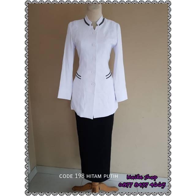 Blazer Putih Lis Hitam Jas Putih Pns Blazer Perawat Wanita