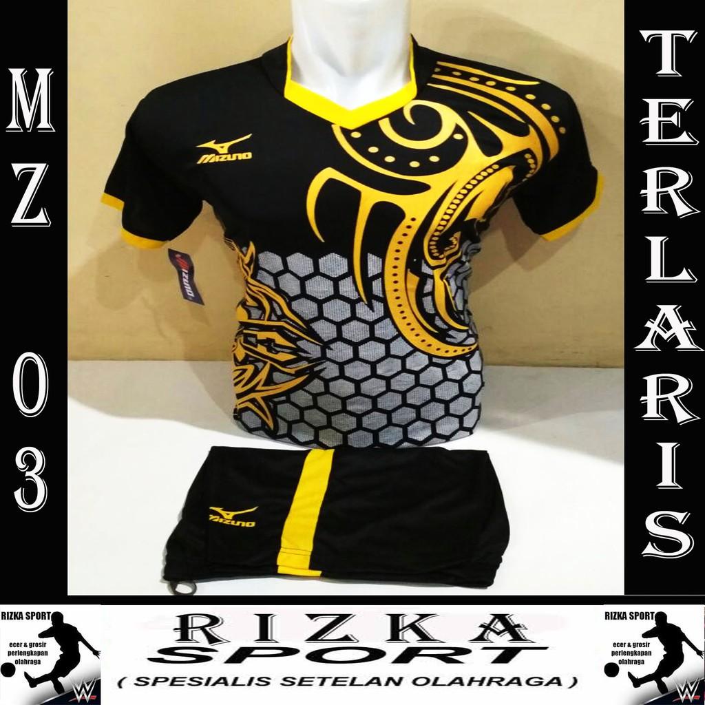 [ BEST SELLER MZ 03 ] Baju Kaos Olahraga Jersey Bola Setelan Futsal / Volly Mizuno Terlaris