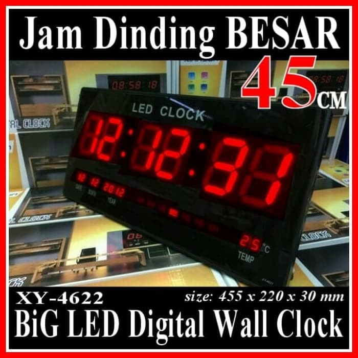 New Xy-4622 Jam Dinding Digital Layar Besar 45 Cm Led Clock Wall Limited  d39a6c49a0
