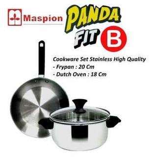 Home-Klik Maspion Panda Fit B Dutch Oven 18 cm dan Frypan 20 cm Stainless Wajan Set - Silver
